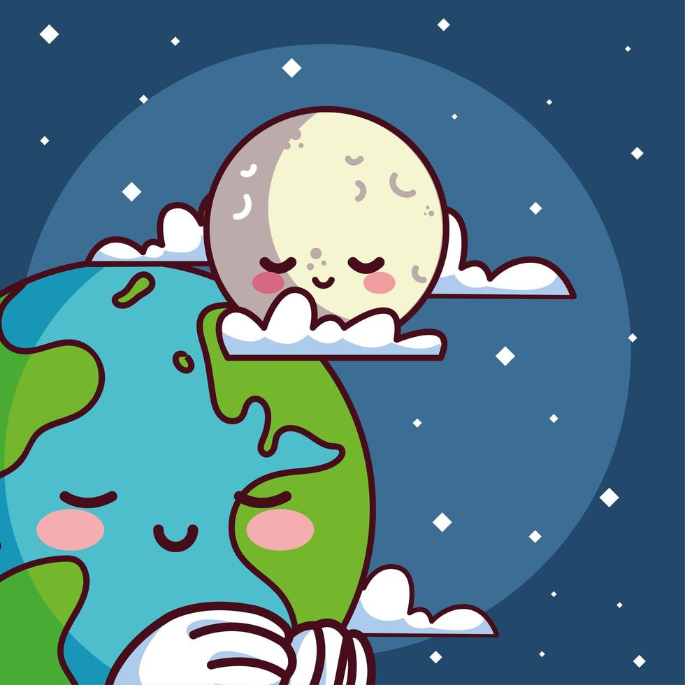 kawaii pianeta terra con la luna sorridente vettore