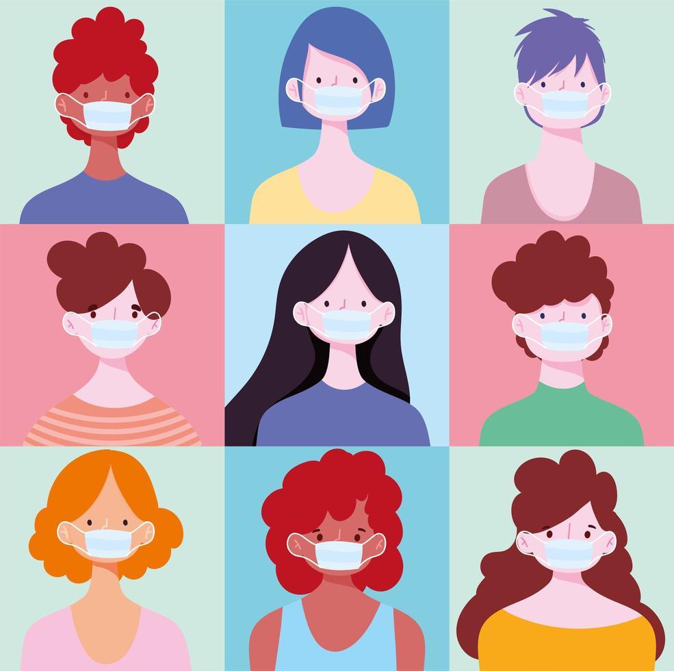 conjunto de jóvenes con máscaras vector