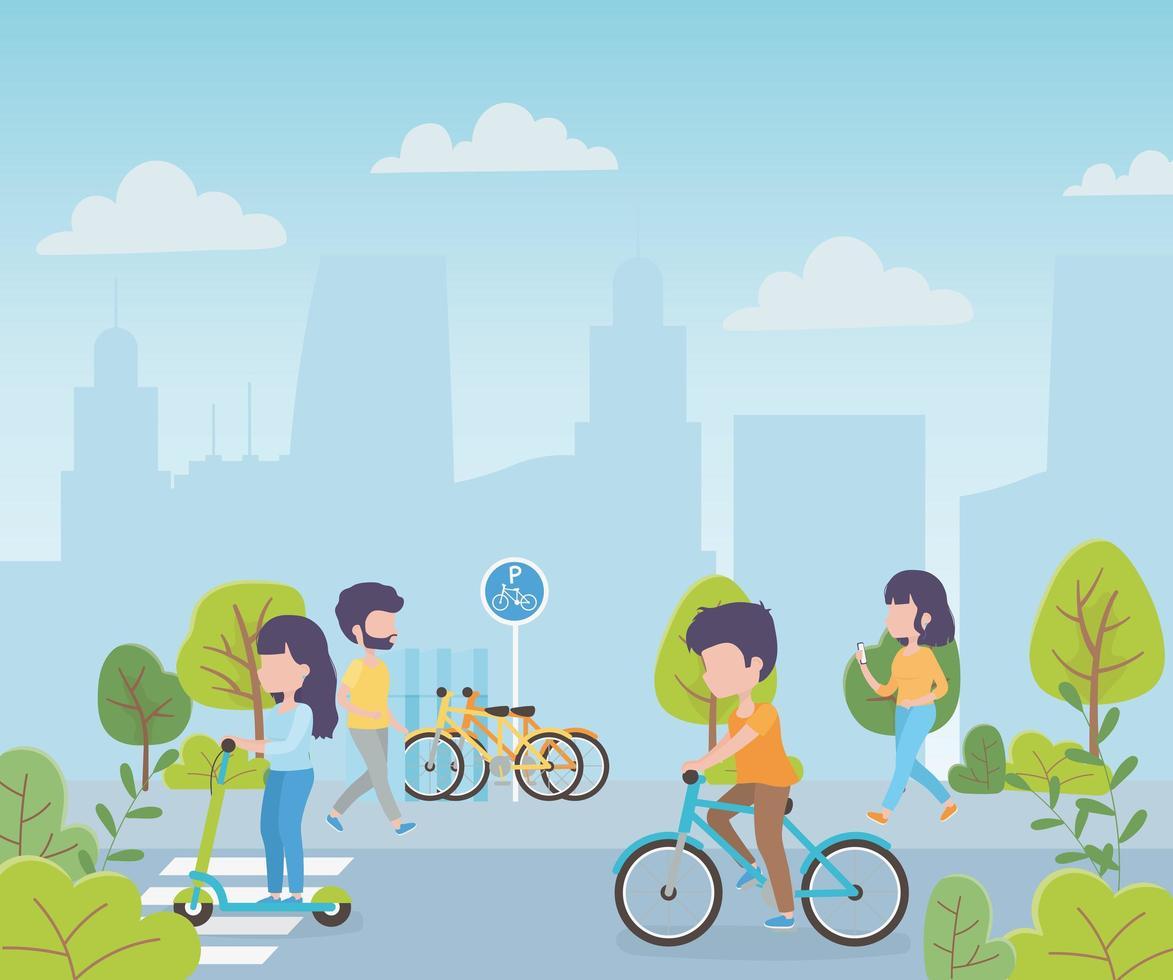 persone che guidano biciclette e scooter elettrici in città vettore