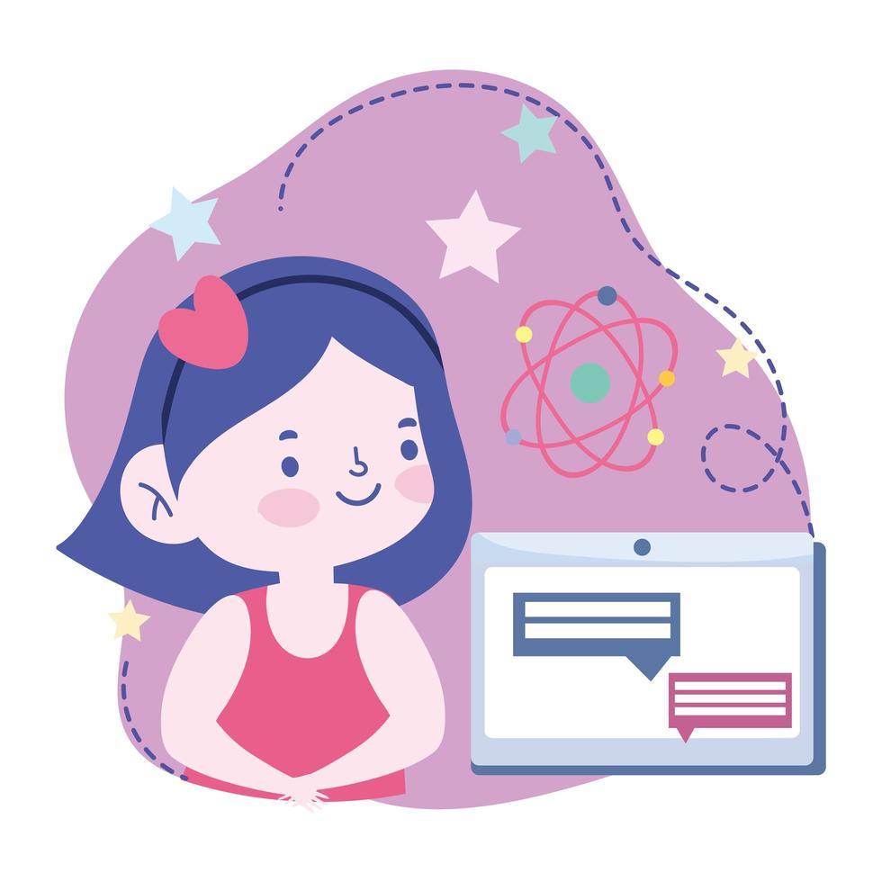 fille étudiante avec une tablette faisant un cours en ligne vecteur