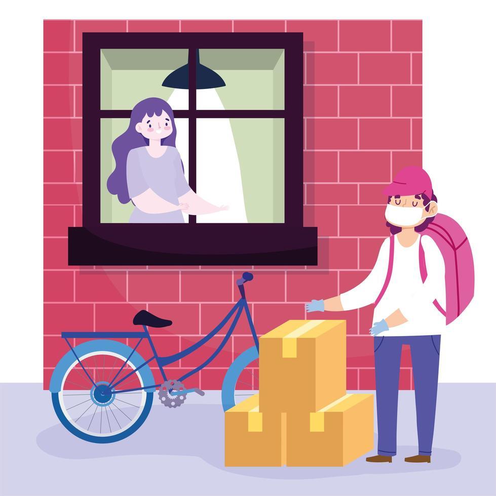 Bike courier safe delivering boxes vector
