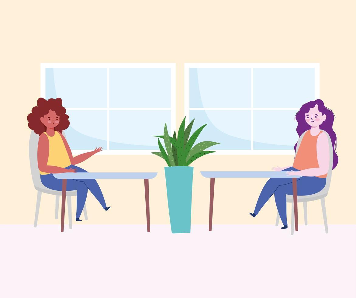 donne sedute sociali che si allontanano al chiuso vettore