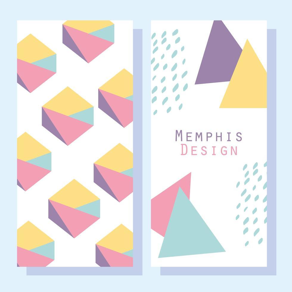modèle de style de conception de memphis et jeu de formes abstraites de cartes vecteur