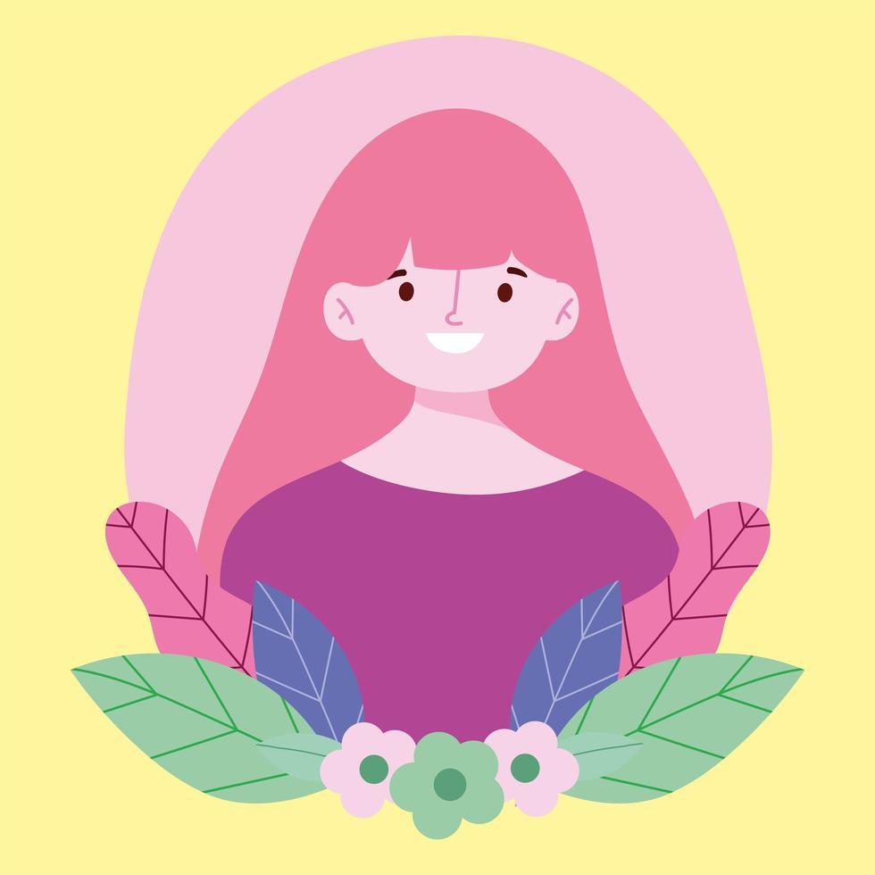 ritratto di giovane donna con foglie vettore