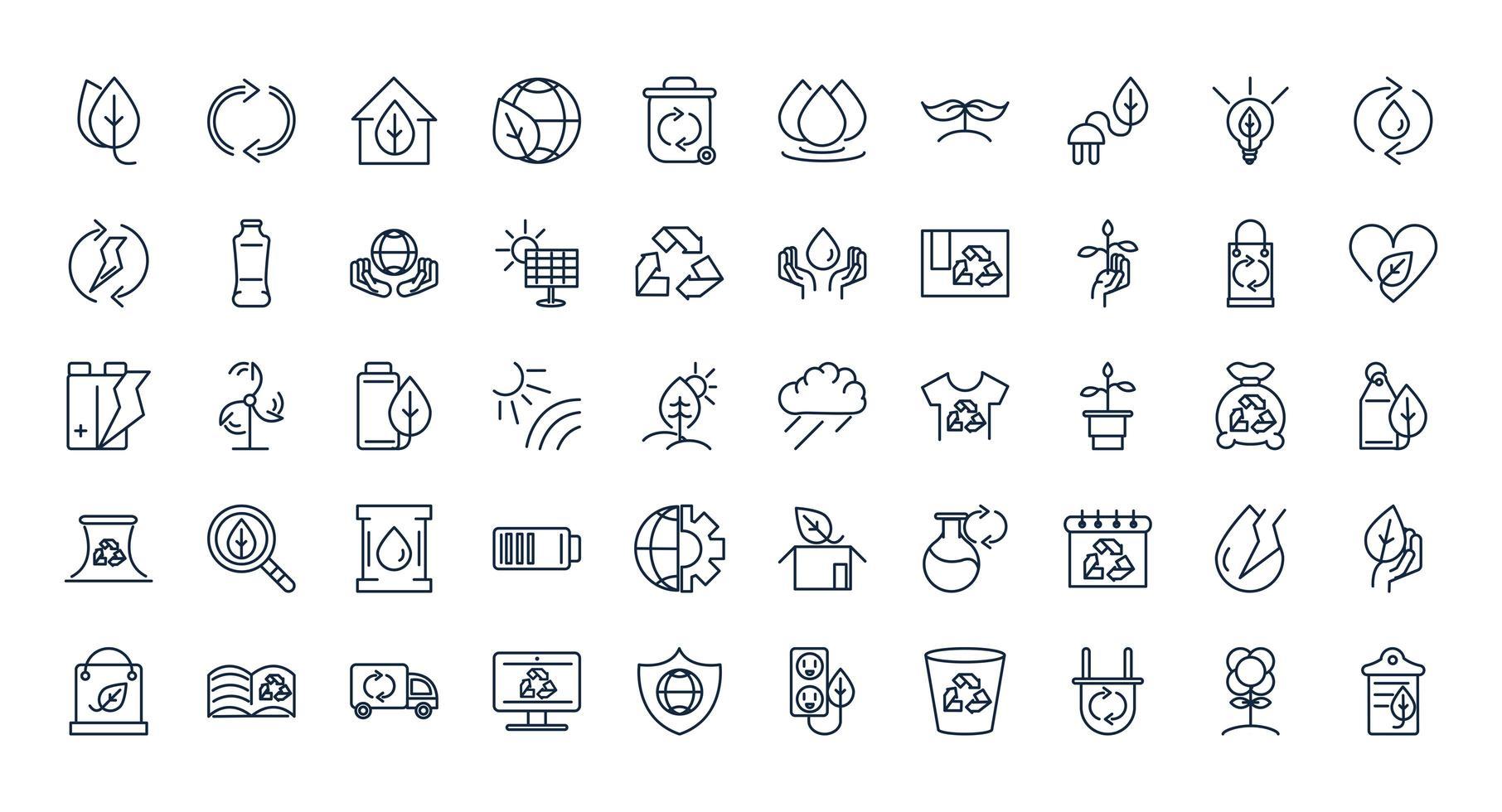 jeu d'icônes de ligne écologie et durabilité vecteur