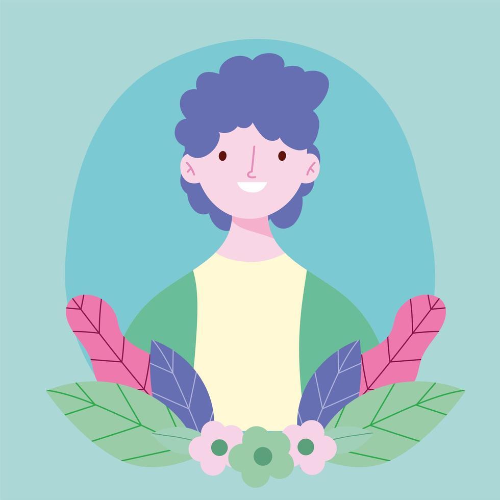 portrait de jeune homme avec des feuilles vecteur