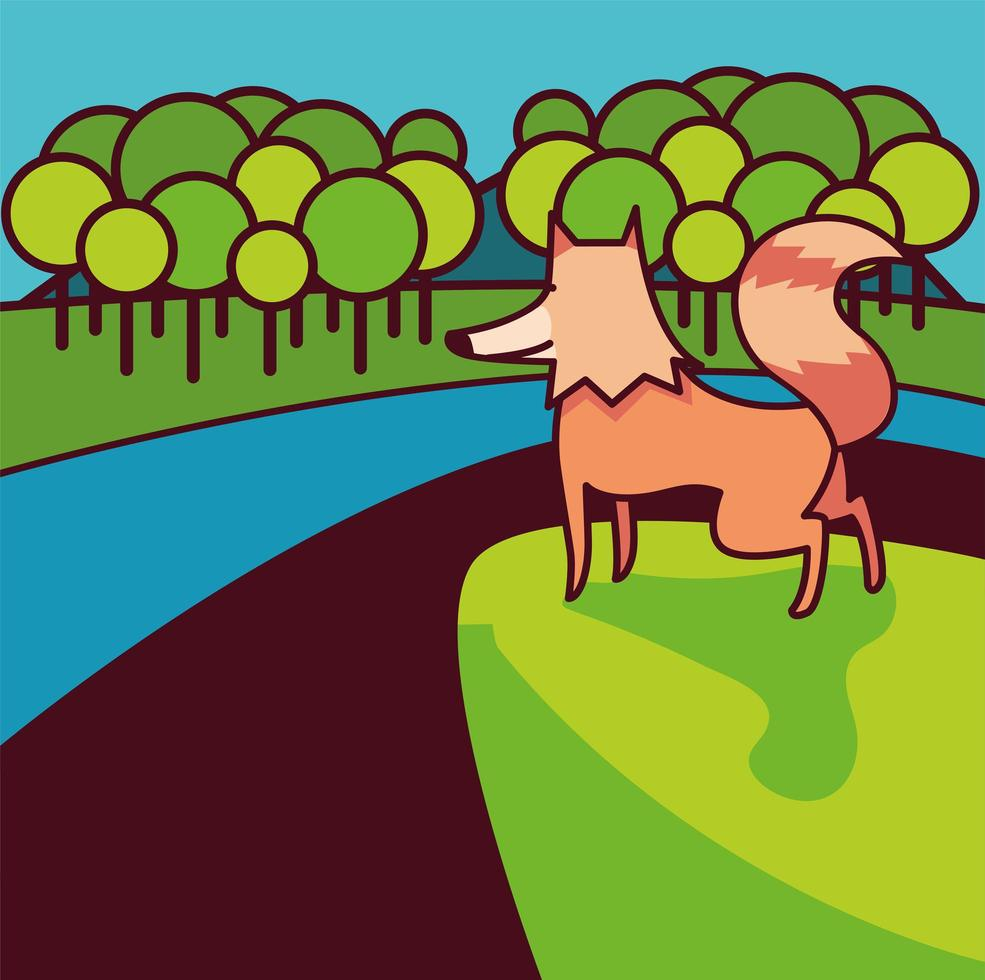 renard sauvage sur paysage naturel vecteur