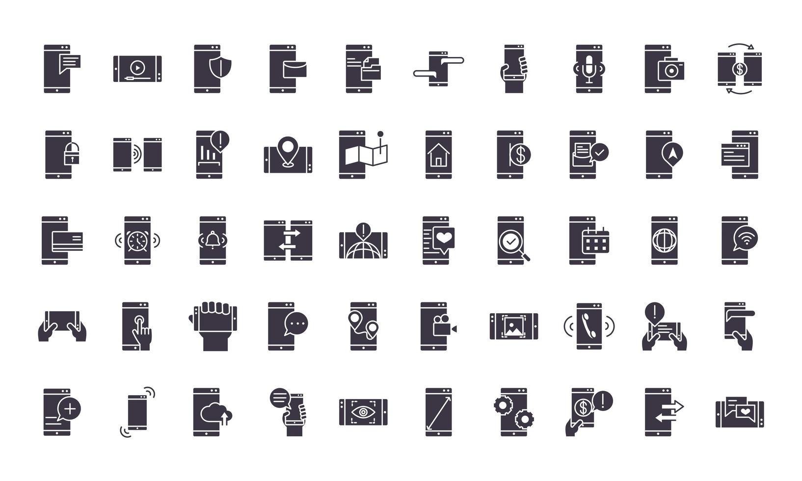 set di icone di sagoma nera elettronica vettore