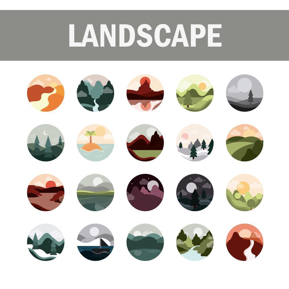 jeu d'icônes de style plat paysages vecteur