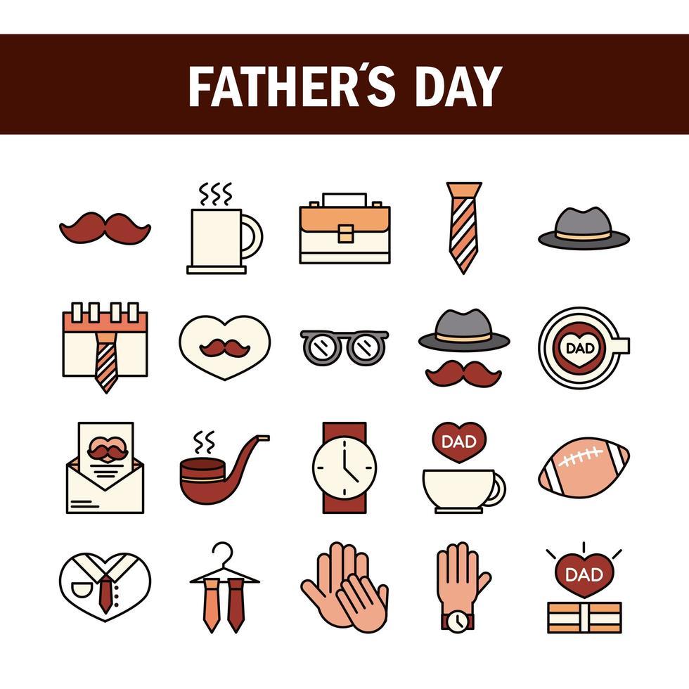 set di icone di celebrazione della festa del papà vettore