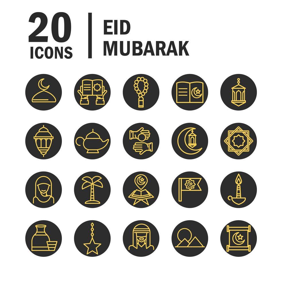 eid mubarak viering pictogramserie vector
