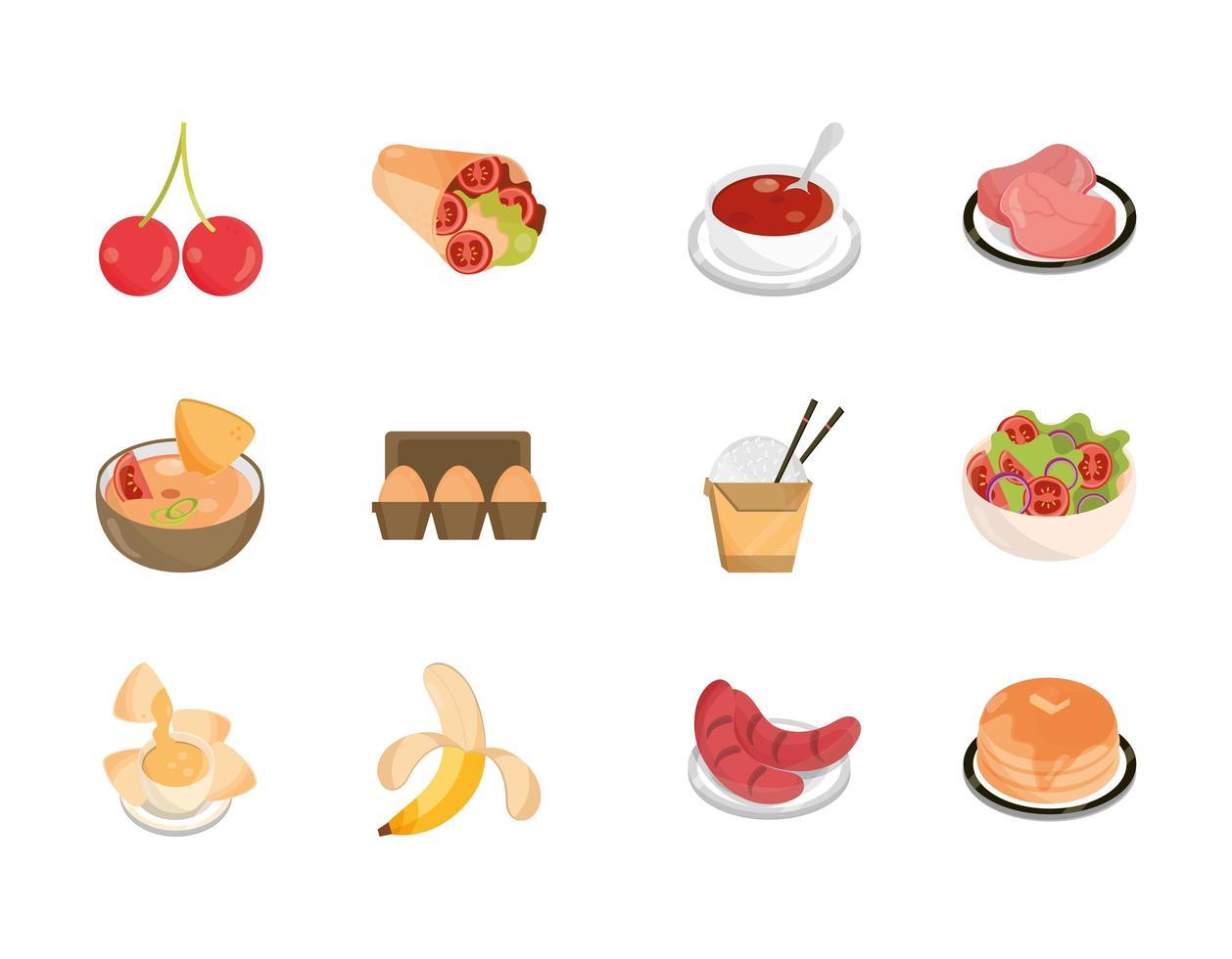 set di icone di cibo assortito vettore