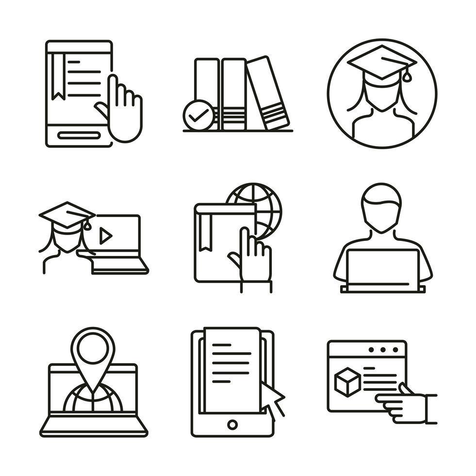 set di icone di formazione a distanza e corsi online vettore