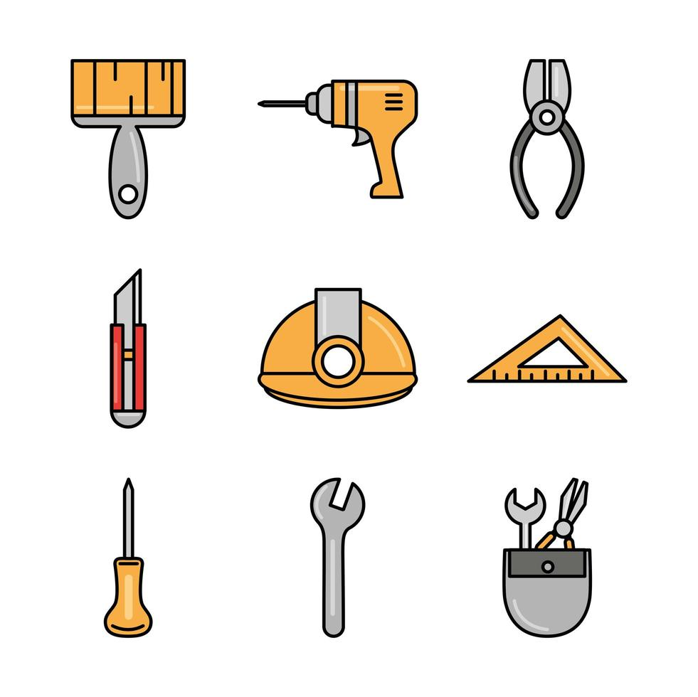 jeu d & # 39; icônes de construction et d & # 39; outils vecteur