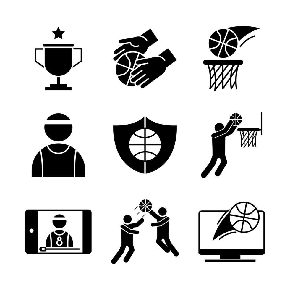 set di icone di pittogrammi basket vettore