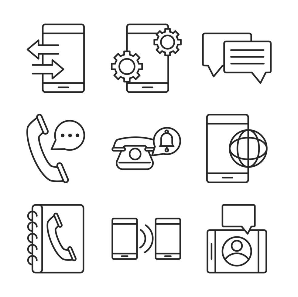 set di icone line-art di dispositivi elettronici vettore