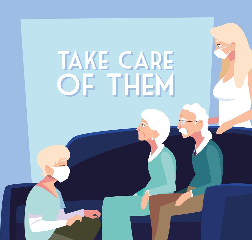 giovani con maschere che si prendono cura degli anziani vettore