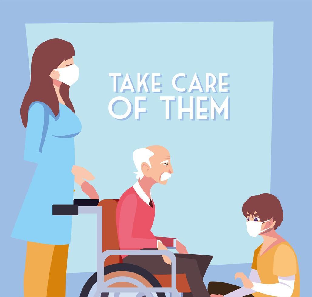 duas pessoas cuidando de um velho em cadeira de rodas vetor
