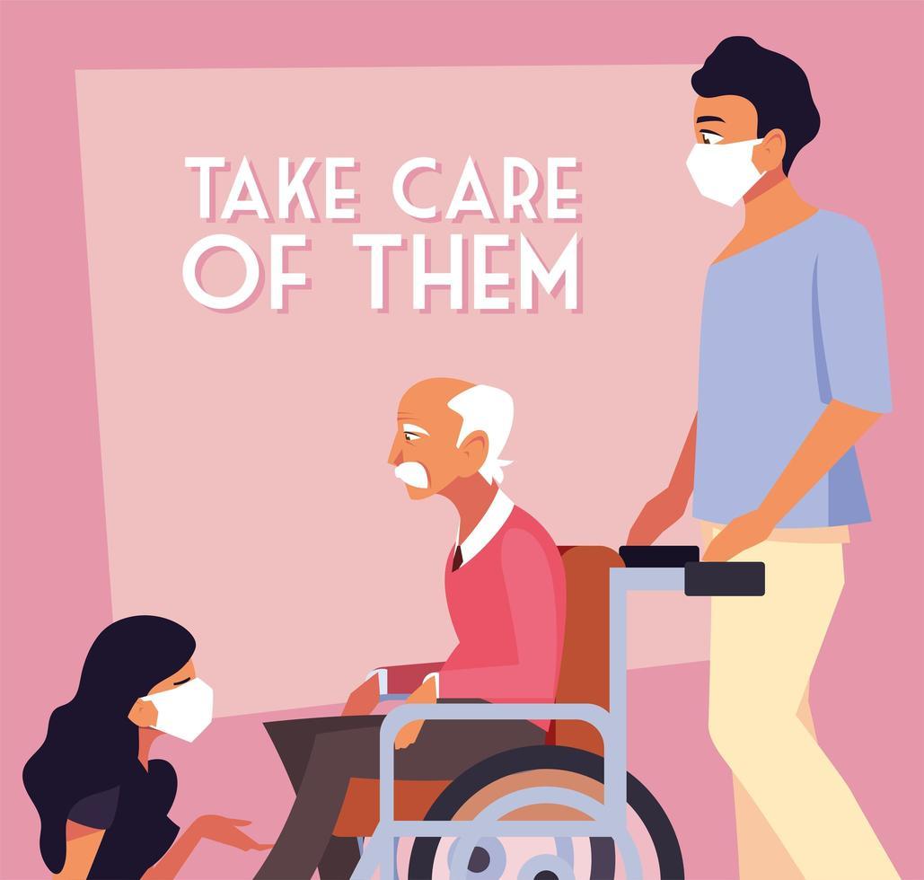 pessoas mascaradas cuidando de velho em cadeira de rodas vetor