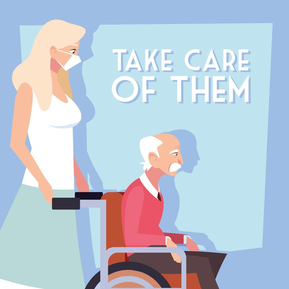 donna si prende cura di un vecchio in sedia a rotelle vettore