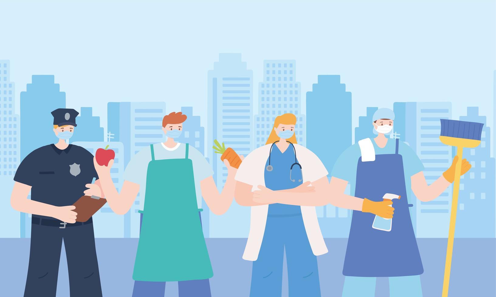 quattro lavoratori essenziali sul paesaggio urbano vettore