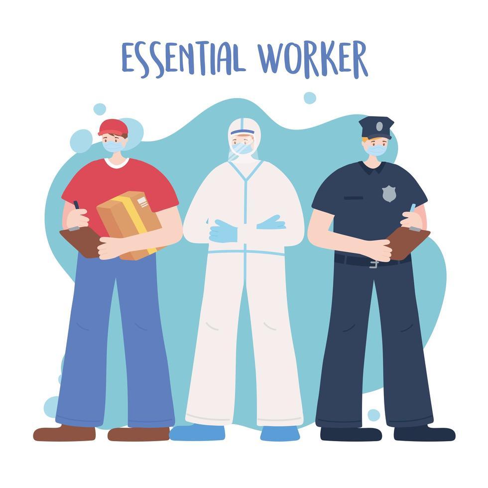 modelo de cartão de trabalhador essencial masculino vetor