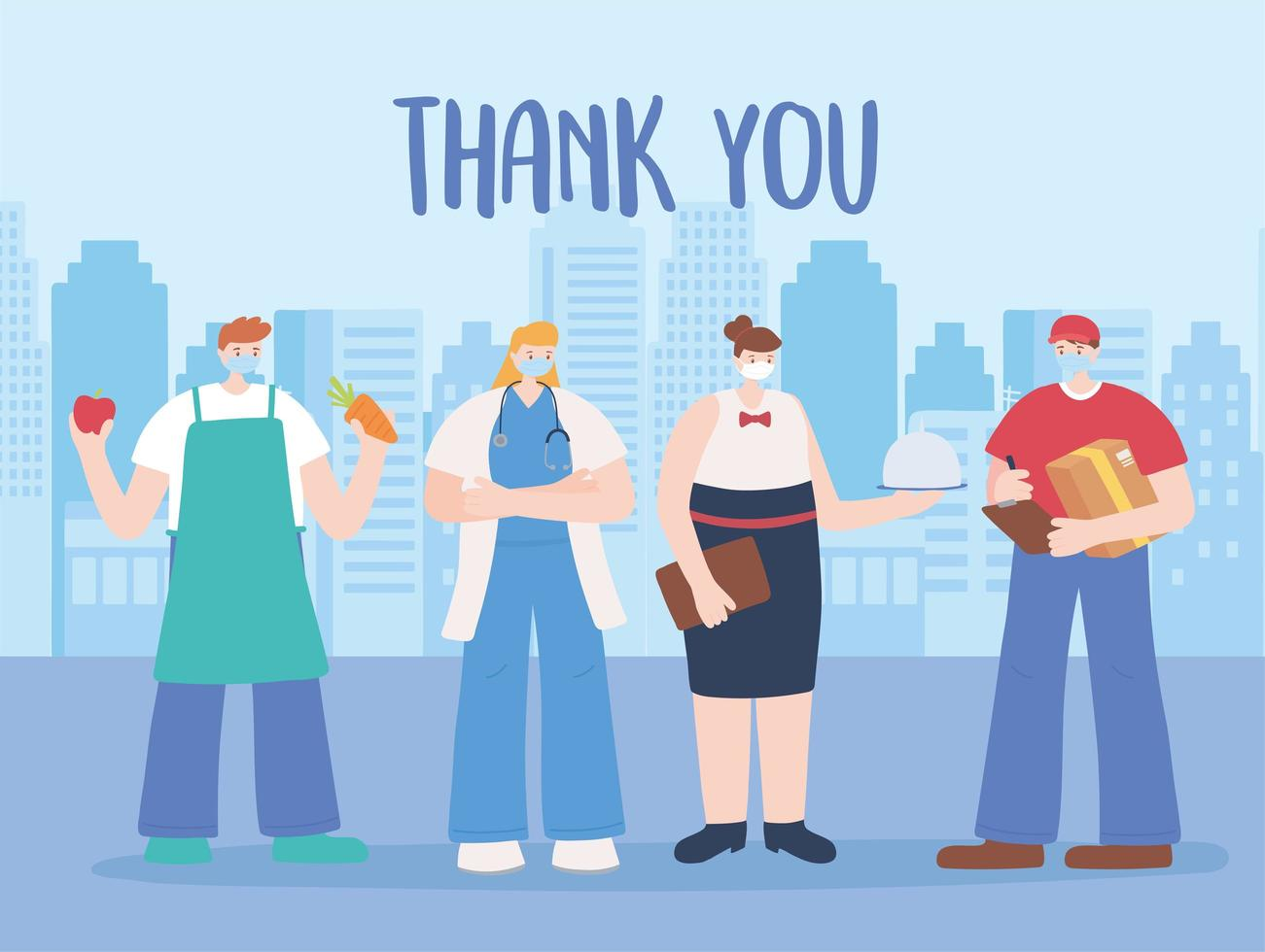 biglietto di ringraziamento con i lavoratori essenziali sul paesaggio urbano vettore