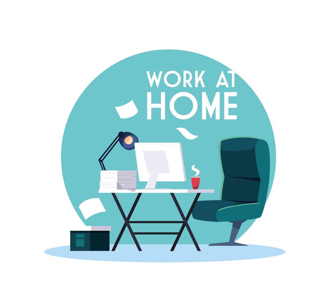 cantiere con scritte di lavoro a casa vettore