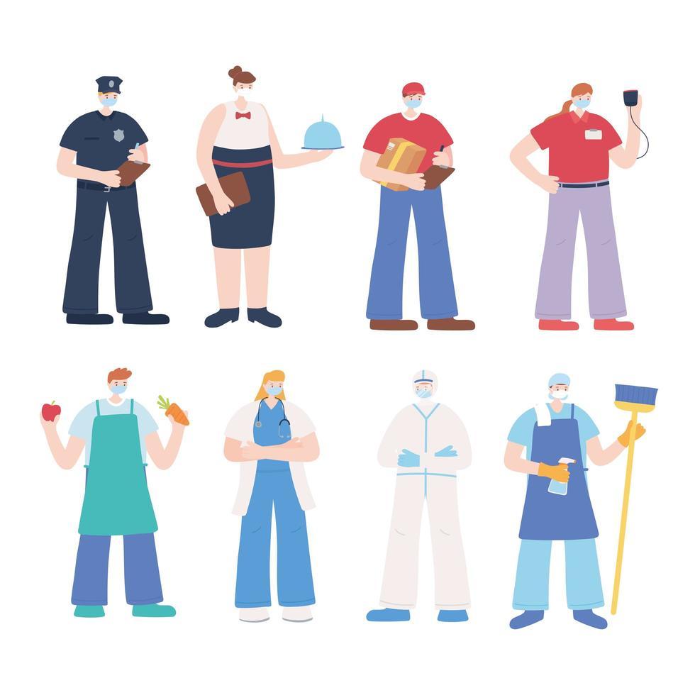 travailleurs essentiels portant des masques design plat vecteur