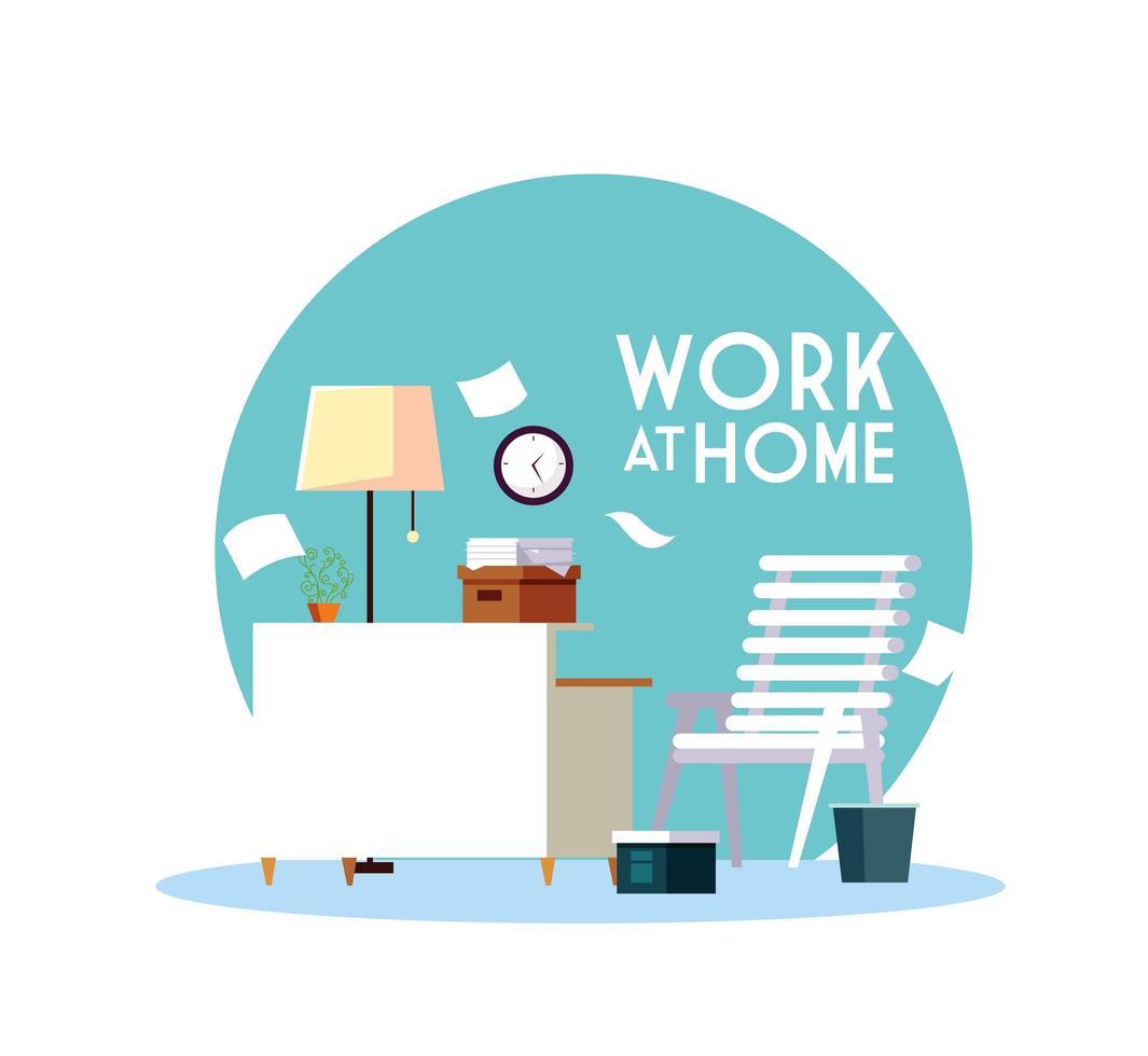 chantier avec lettrage travail à domicile vecteur