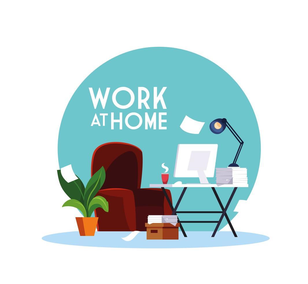 espace de travail avec lettrage de travail à la maison vecteur