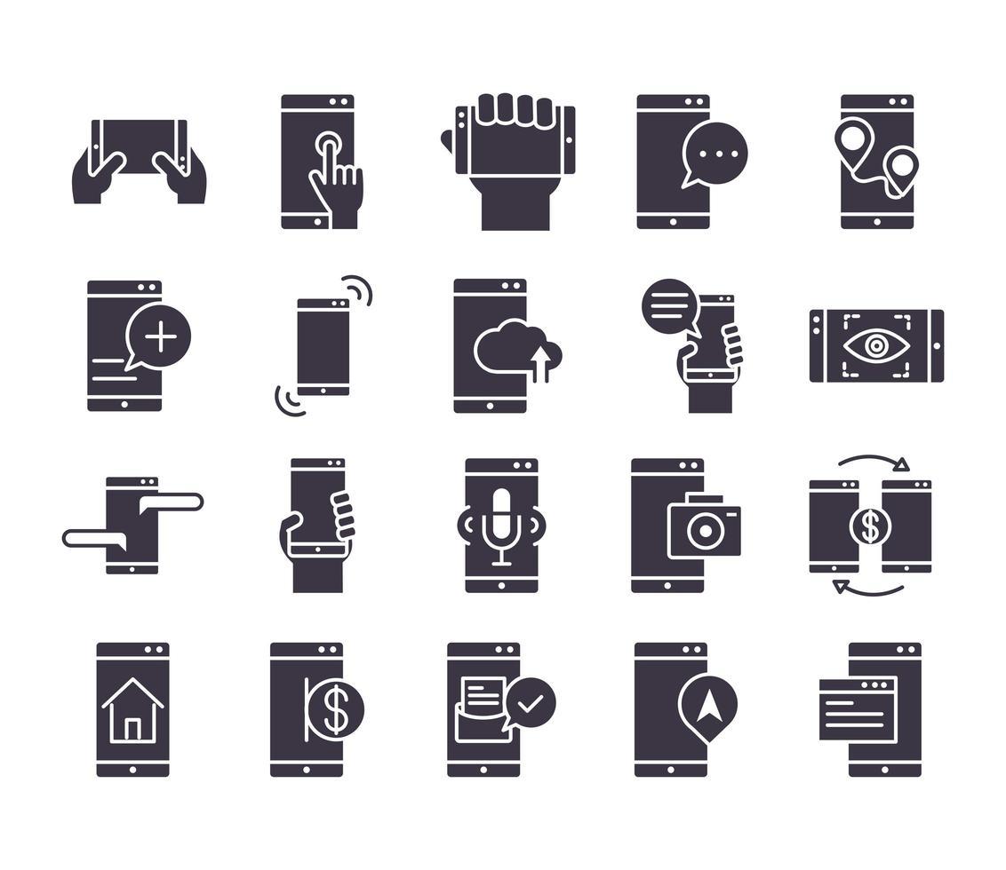 pack d'icônes silhouette noire électronique vecteur
