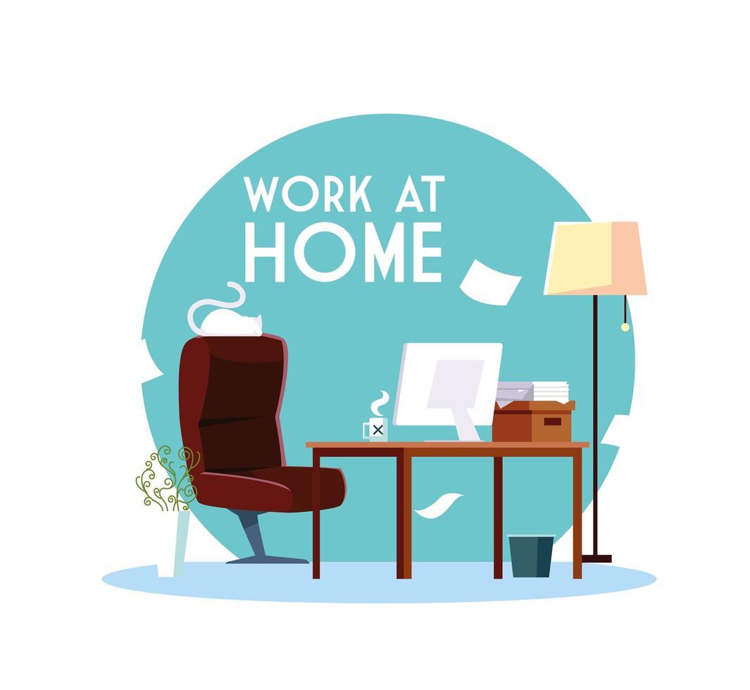 spazio di lavoro a casa senza persone vettore