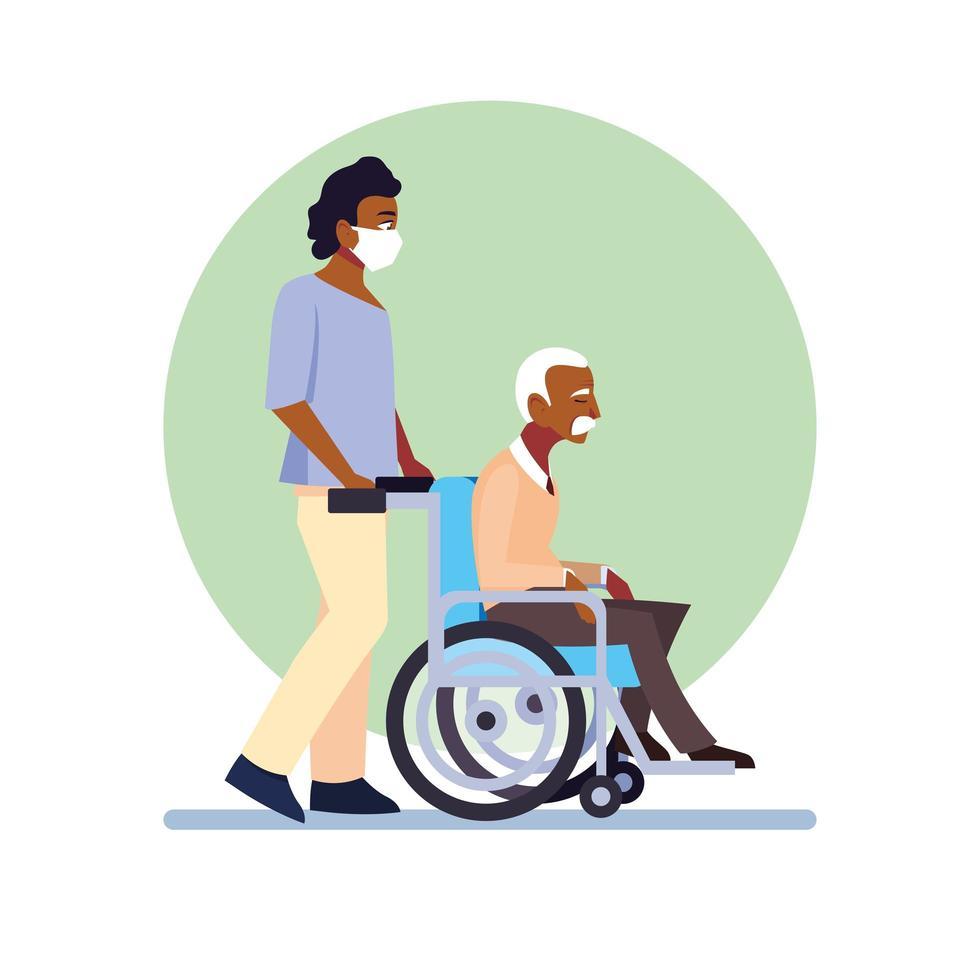 homme utilisant un masque médical et prenant soin d'un vieil homme vecteur