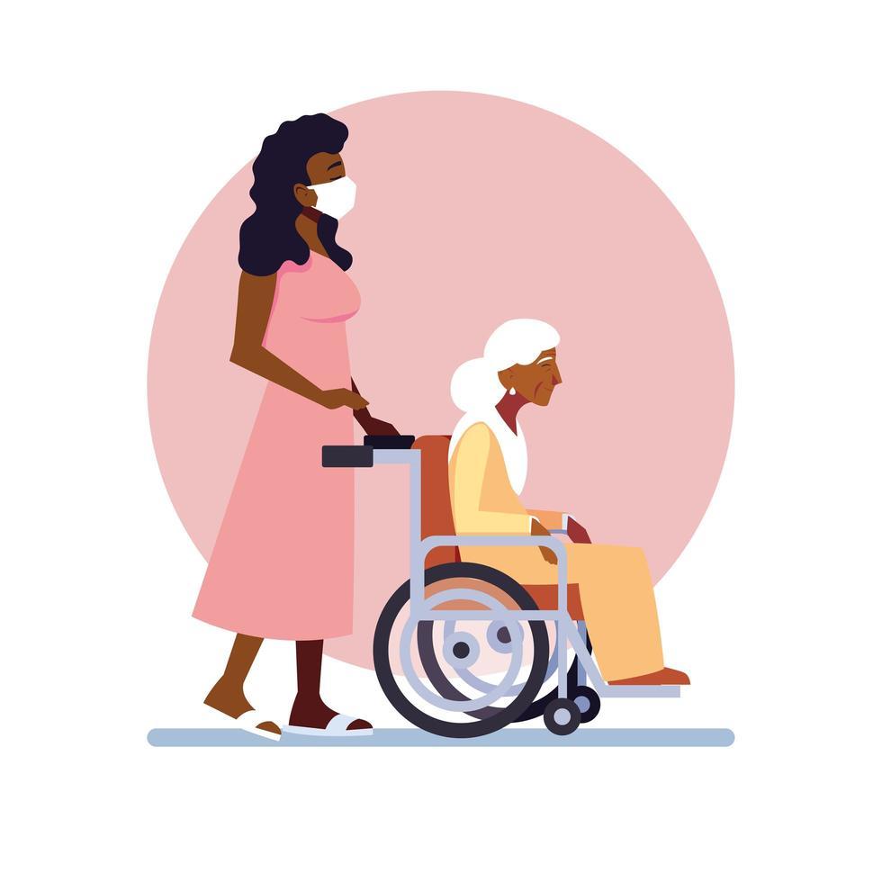 jeune femme prenant soin d'une vieille femme vecteur