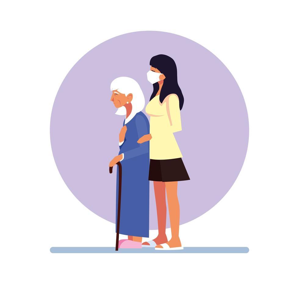 giovane donna che indossa la maschera per il viso e prendersi cura di una donna anziana vettore