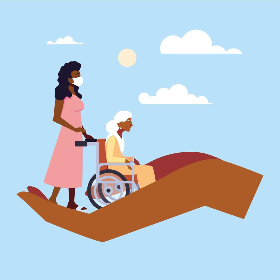 Young woman takes care of old woman in wheelchair vector