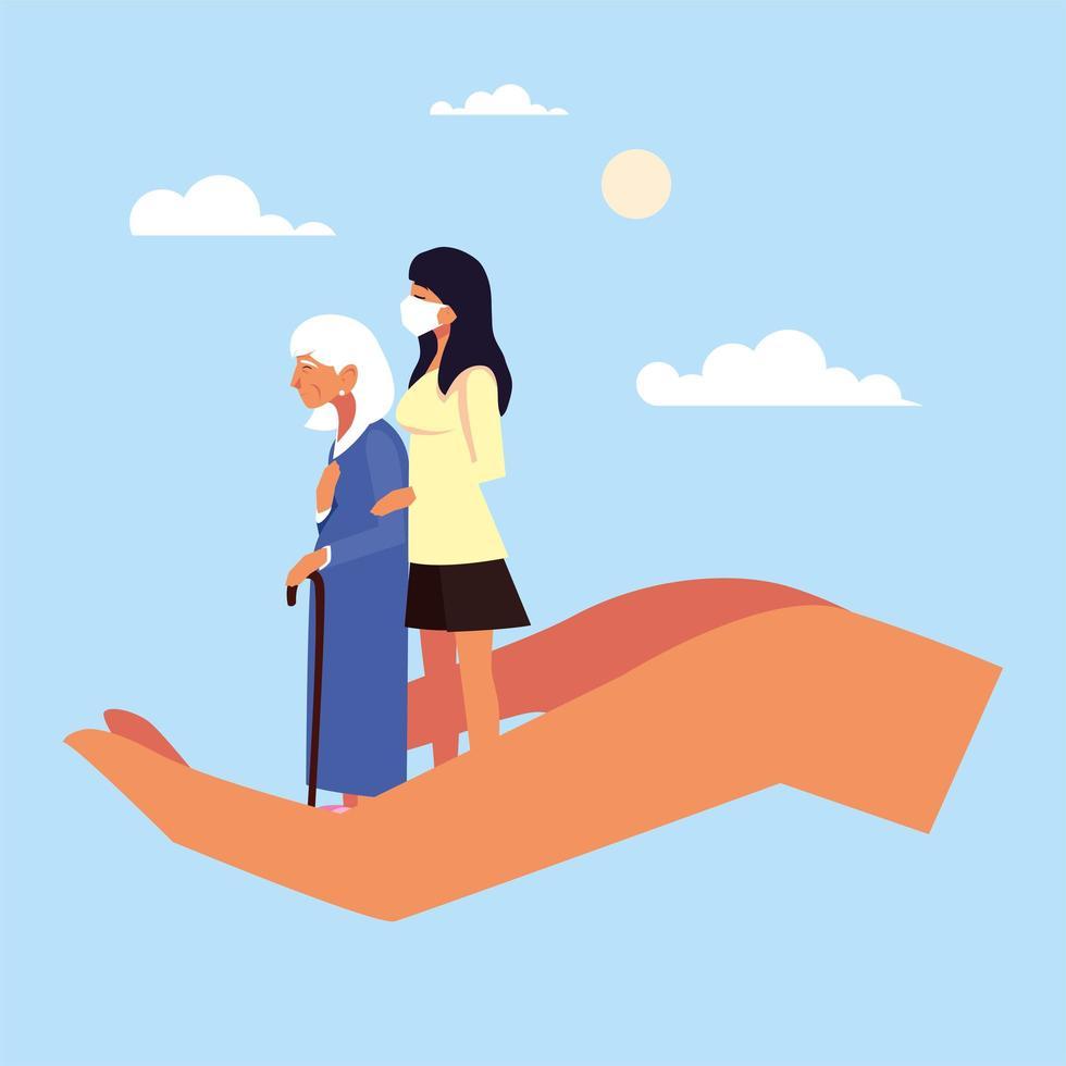 jeune femme prenant soin de la vieille femme vecteur