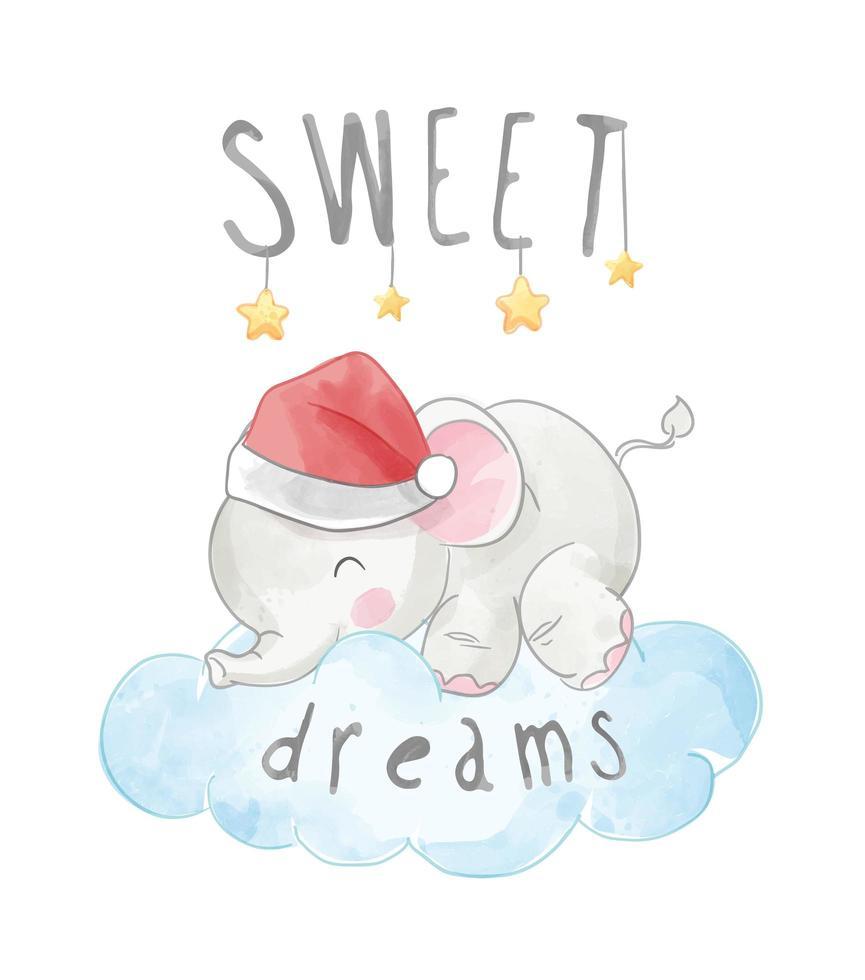 slogan de beaux rêves avec éléphant dormant sur un nuage vecteur