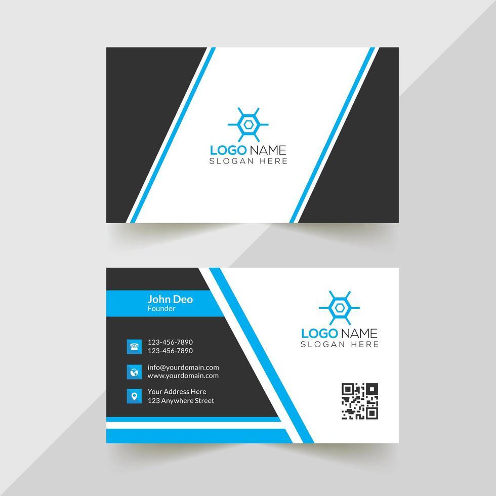biglietto da visita aziendale con angolo blu, grigio e bianco vettore