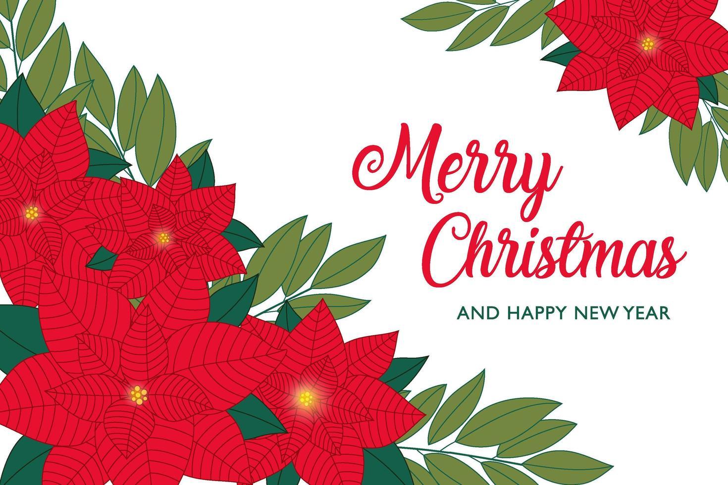 biglietto di auguri di Natale stella di Natale rossa e foglie vettore