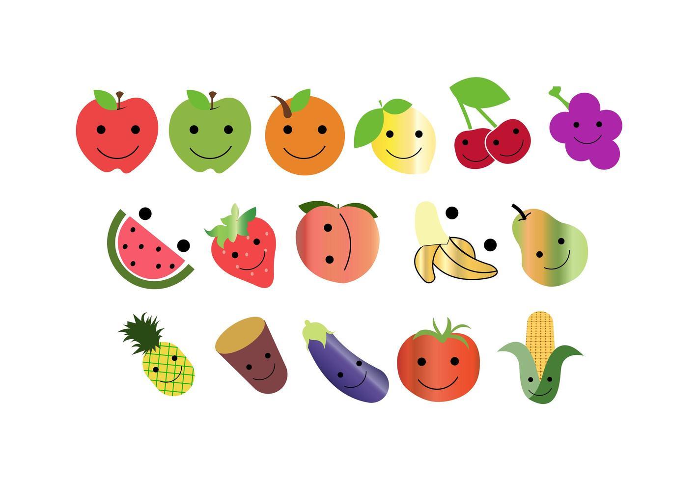 set di icone di frutta felice vettore
