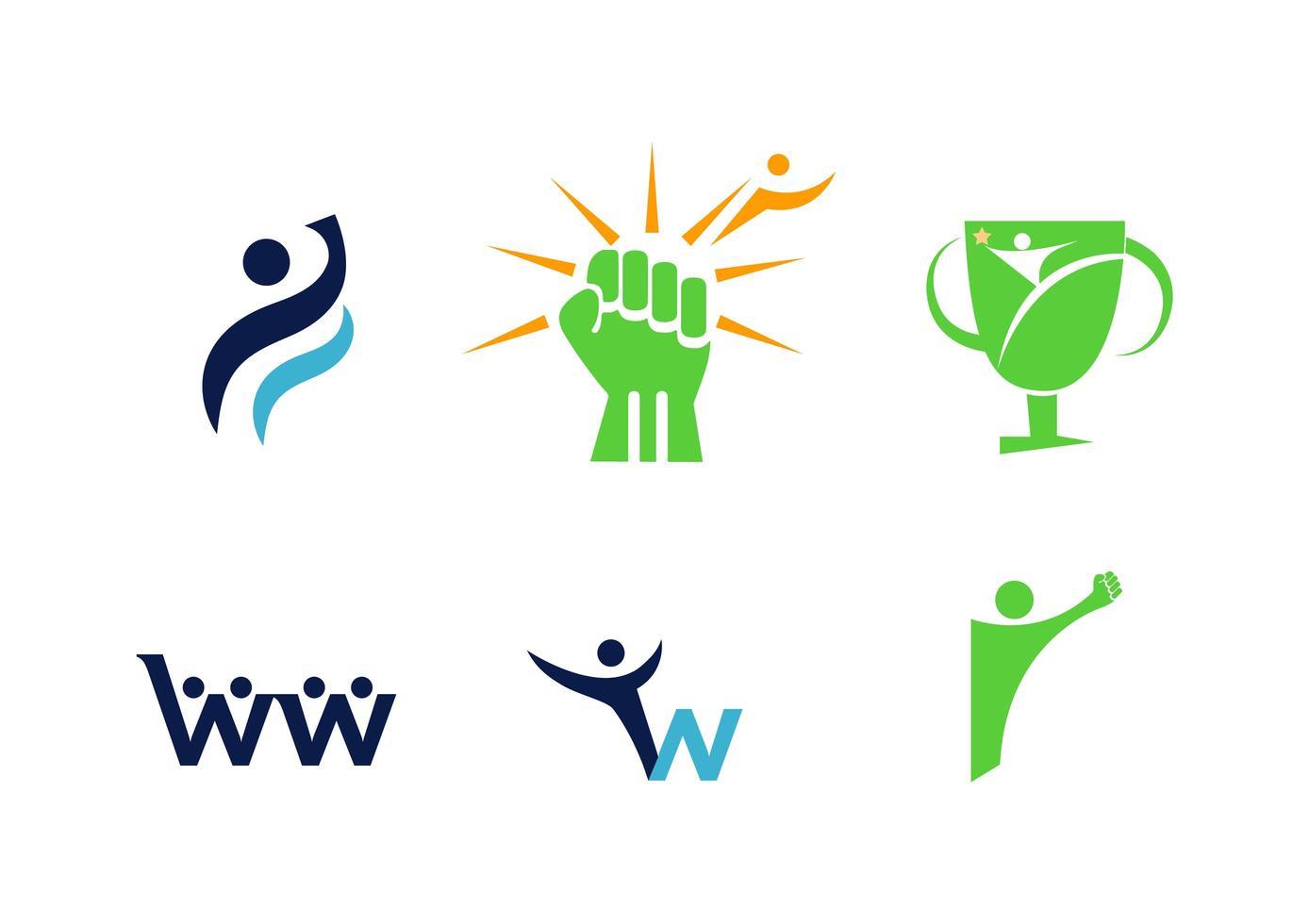 ensemble de six logos liés à la psychologie vecteur