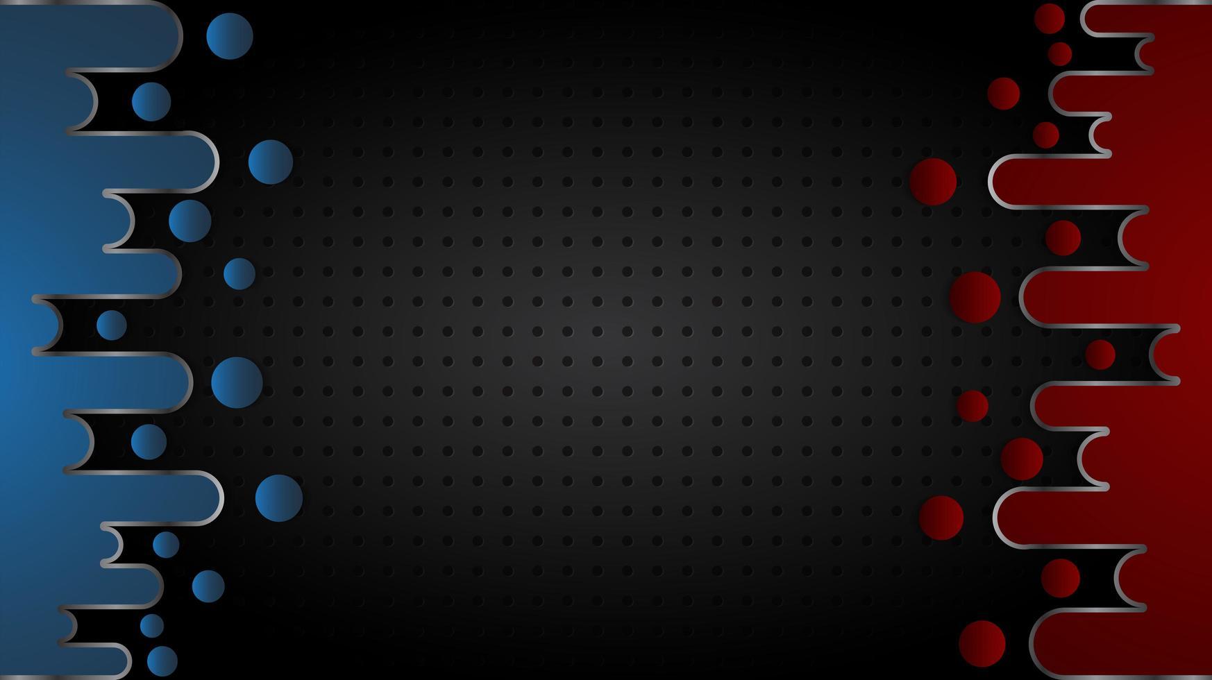 formes liquides rouges et bleues sur la texture de la grille noire vecteur