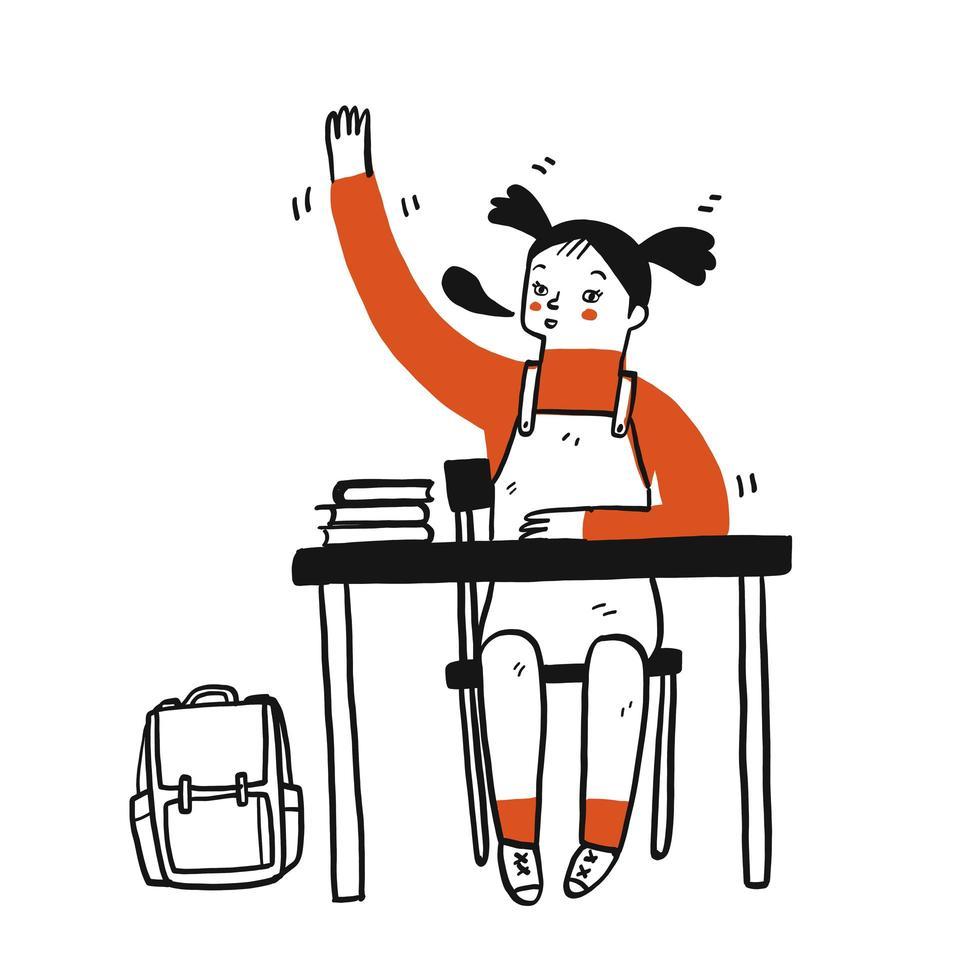 joven estudiante levantando la mano vector