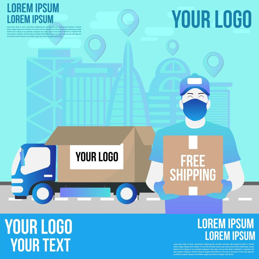 concept de service de livraison de camion en ligne vecteur