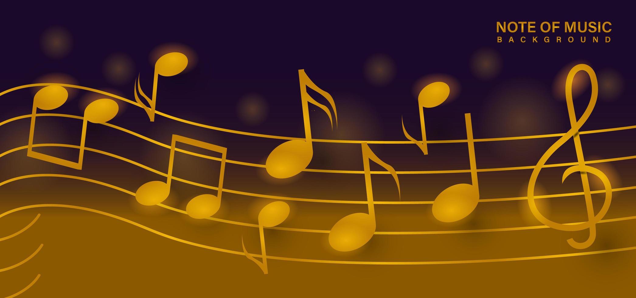 nota d'oro del modello di sfondo di disegno di musica vettore