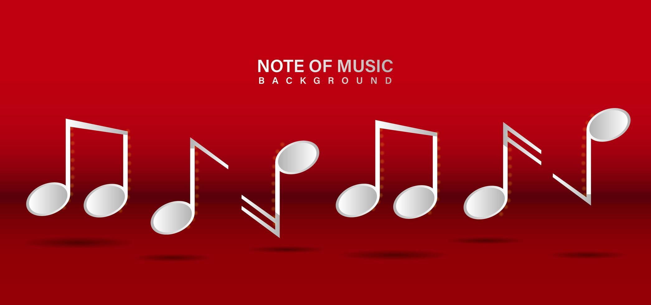 nota muziek ontwerpsjabloon op rode achtergrond vector