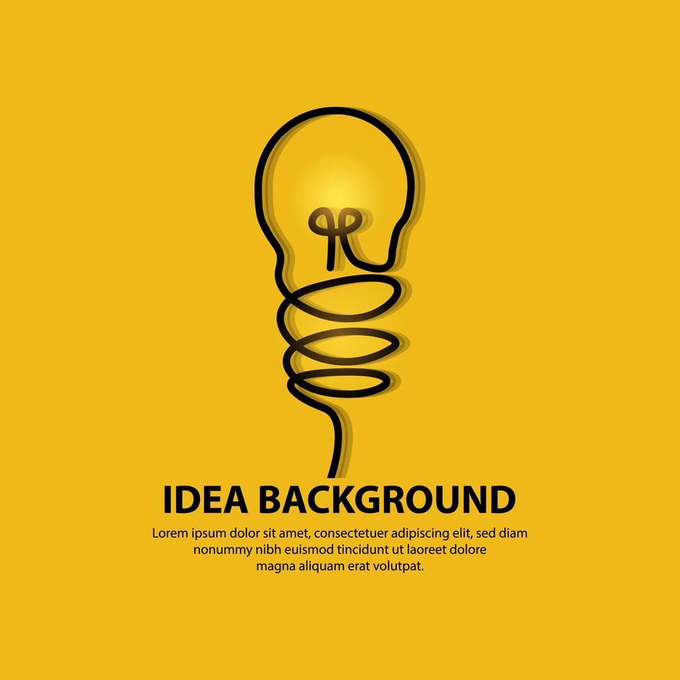 Lampe ampoule design art ligne sur fond jaune vecteur