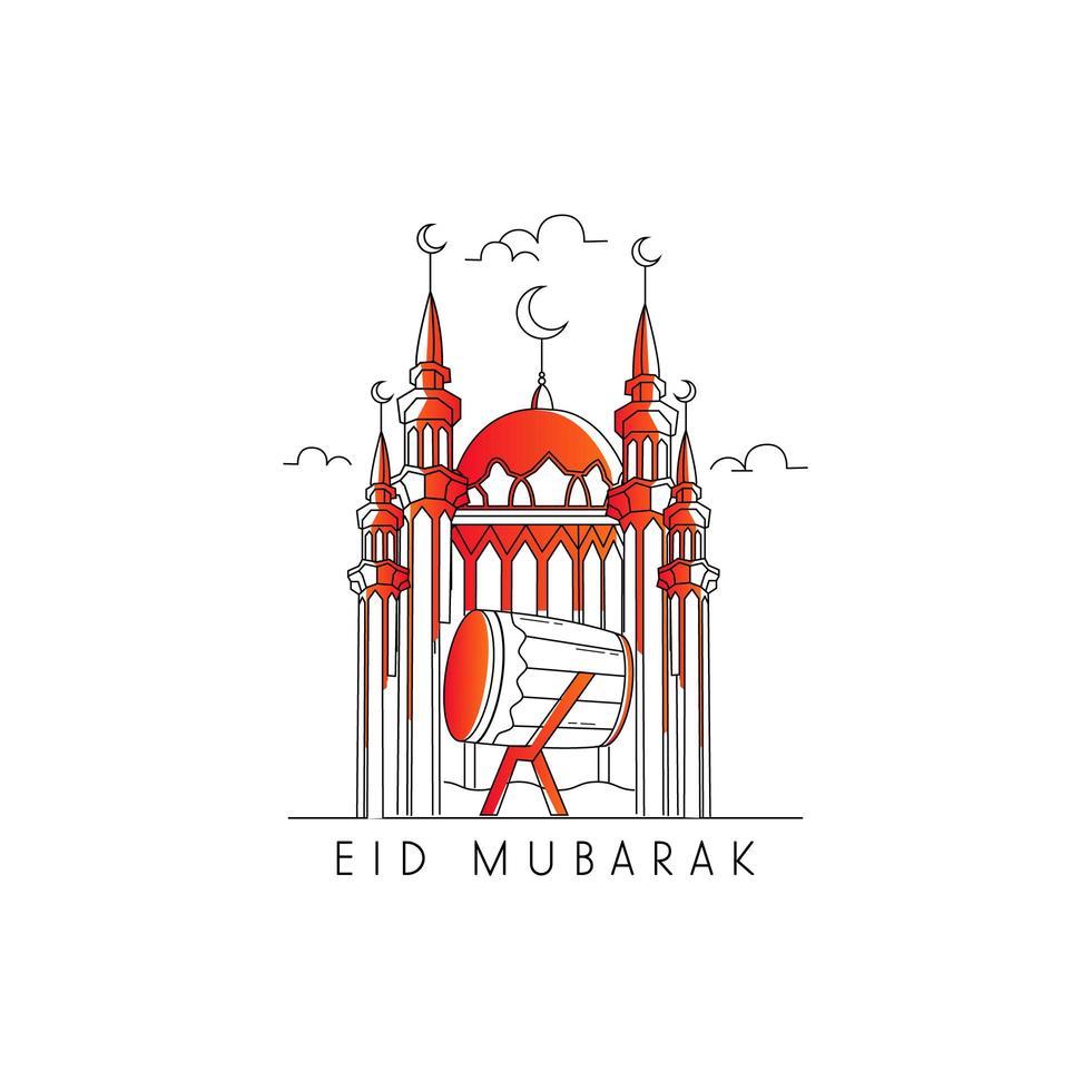 mosquée et tambour pour la célébration eid mubarak vecteur